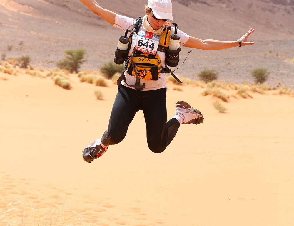 Lessons in Badassery Marathon des Sables finisher, Natalia Andreyeva jumping