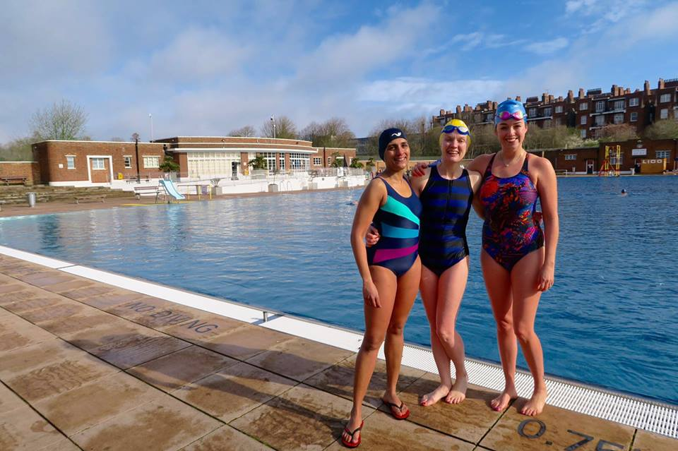 Lorraine Candy with other swimmers