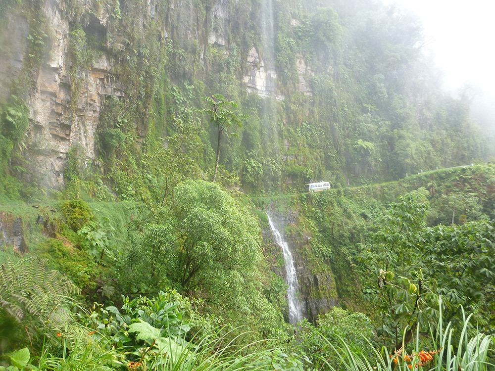 Lessons in Badassery - 'Death Road' in Bolivia waterfall